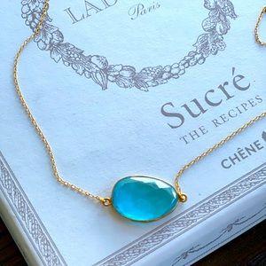 Gold Vermeil Swiss Blue Topaz Quartz Necklace! New